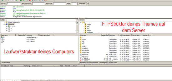 FileZilla-Fenster-FTP-Struktur