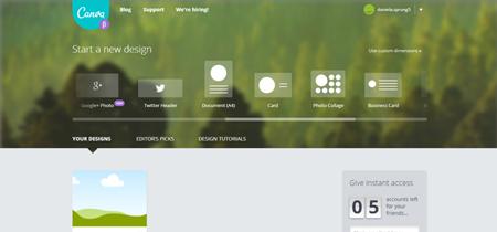 Canva bietet vorbereitet Größen für die Social Media Kanäle