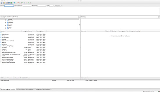 Mit einem FTP Client erhälst du Zugriff auf den Server