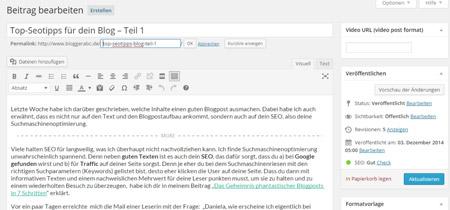 Mit einer kurzen und prägnanten URL die alle Keywords enthält kannst du ein gutes Ranking bei Google beeinflussen.
