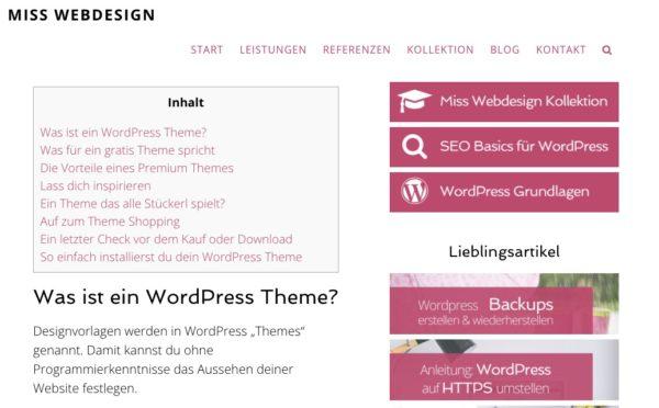 Inhaltsverzeichnis in einem Blogartikel
