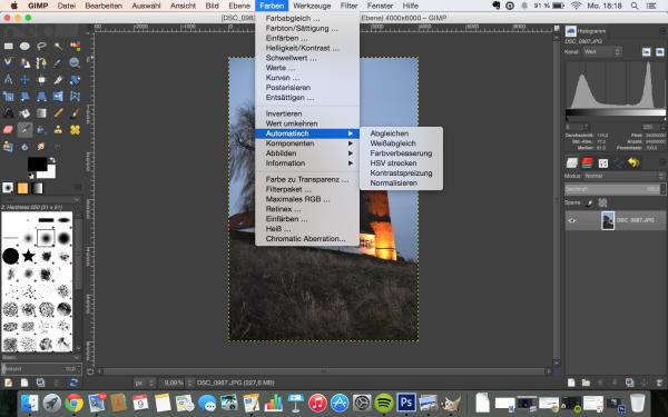 GIMP bietet ähnliche Funktionen zur automatischen Bildbearbeitung wie Photoshop