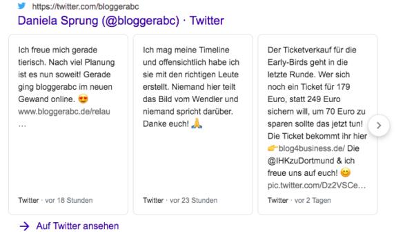 Tweets werden in der Googlesuche angzeigt