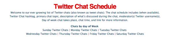 Eine Übersicht über alle interessanten TwitterChats, auf denen man seine Expertise und Beiträge teilen kann, ist die Twitter Chat Schedule von Tweetreports.com. Achtung: Englisch.