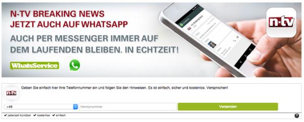 n-tv Eilmeldungen bei WhatsApp,