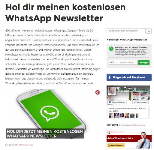 WhatsApp-Newsletter Anmeldung auf bjoerntantau.com