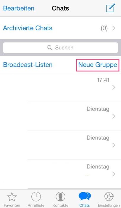"""Im Menü wählt man das Feld """"neue Gruppe auswählen"""" (iOS unter """"Chats"""" oben rechts) aus."""
