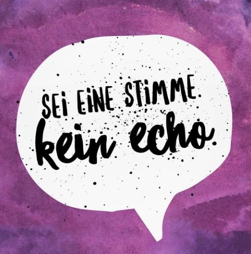 Es geht um Positionierung. In der Sprechblase steht: Sei eine Stimme. Kein Echo.