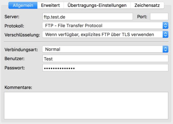 Filezilla-Servermanager