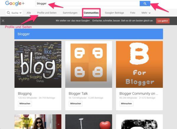 Google+ Suche nach Bloggern