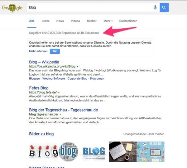 Suche über Google nach Bloggern