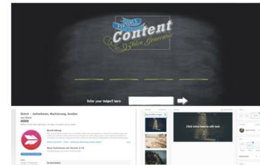 Tools, die dir beim Bloggen helfen in einer Kollage dargestellt