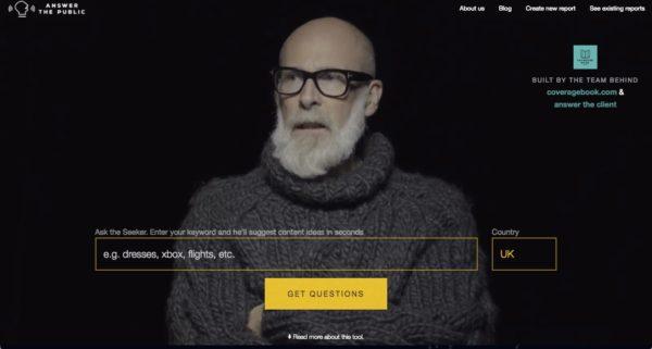 Tools Answer the public ist ein Online-Tool, um Keywörter auszuwerten