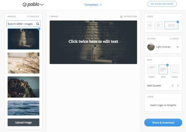 Tools Pablo von Buffer, um Bilder zu gestalten für Social Media
