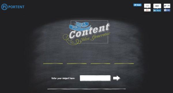 Toosl Content Idea Generator Portent