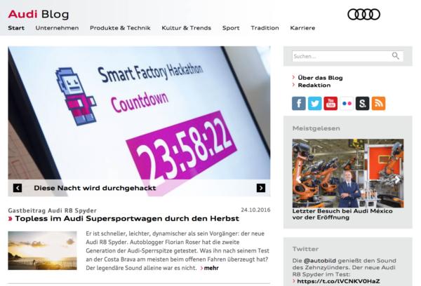 """Audi – """"Einblicke für Medienprofis"""", Quelle: http://blog.audi.de"""