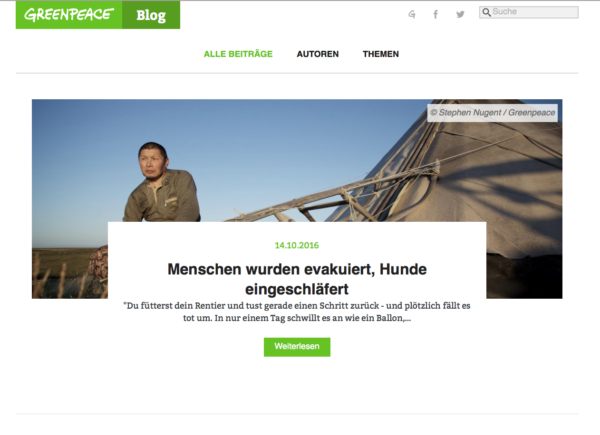 Greenpeace – Blog mit gelungener Kommunikationsstrategie, Quelle: http://blog.greenpeace.de