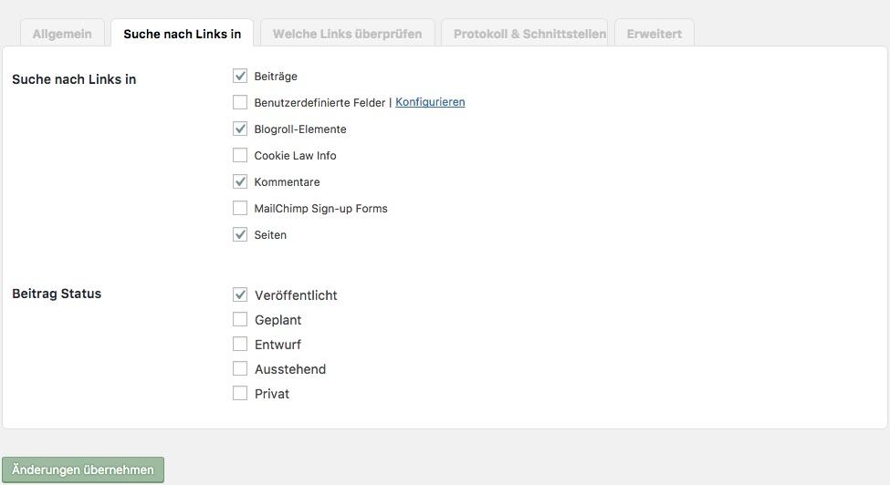 Suche nach Links kann eingestellt werden.
