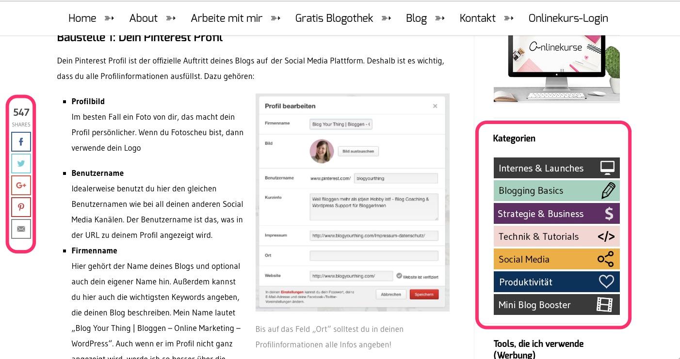 Mitlaufende Socialsharinleiste und Sidebar von Blog your thing