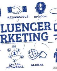 influencer marketing. chart mit keywords und icons