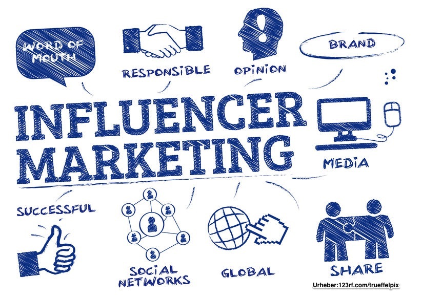 influencer marketing. chart mit keywords und icons