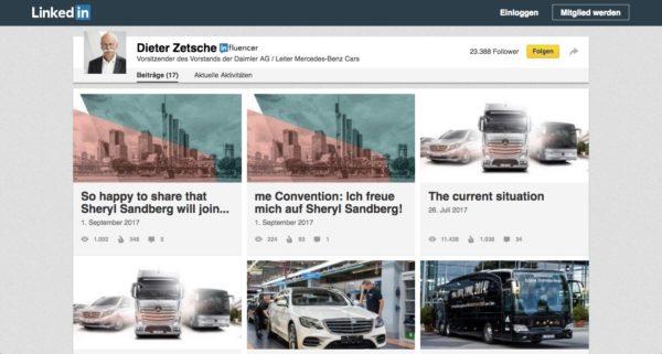 Content Distribution: Ausschnitt von den veröffentlichten Beiträgen von Dieter Zetsche auf Linkein. Dort sind 17 Artikel aufgeführt.
