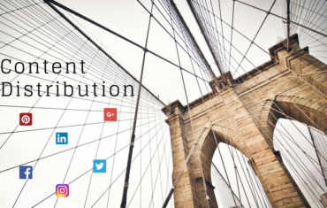 Brooklyn Bridget und in den Fäden der Brücke sind die Logos von Facebook, Twitter, Pinterest, Instagram und Linkedin