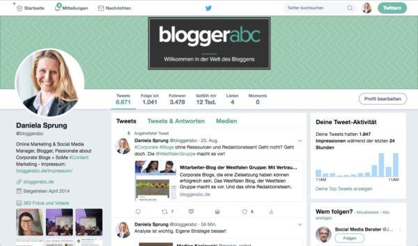 Ausschnitt von der Twitterstartseite des eigenen Accounts.