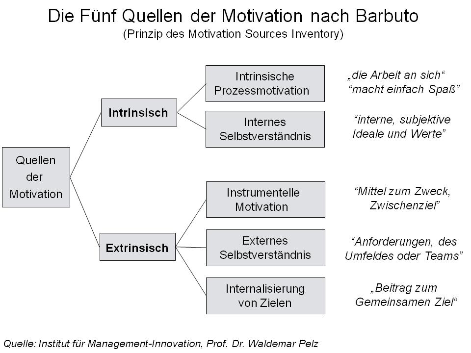 Darstellung in der Intrinsischen und Extrinsischen Motivation in einer Grafik