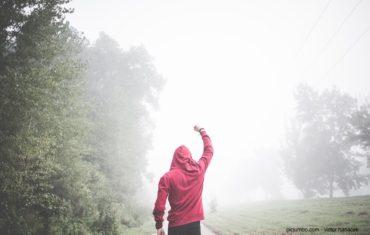 Ein Mann im roten Kaputzenpulli geht einen Weg entlang und streckt den Arm wie zum Sieg hoch. Links von ihm ist eine Baumreihe und rechts von ihm eine Wiese