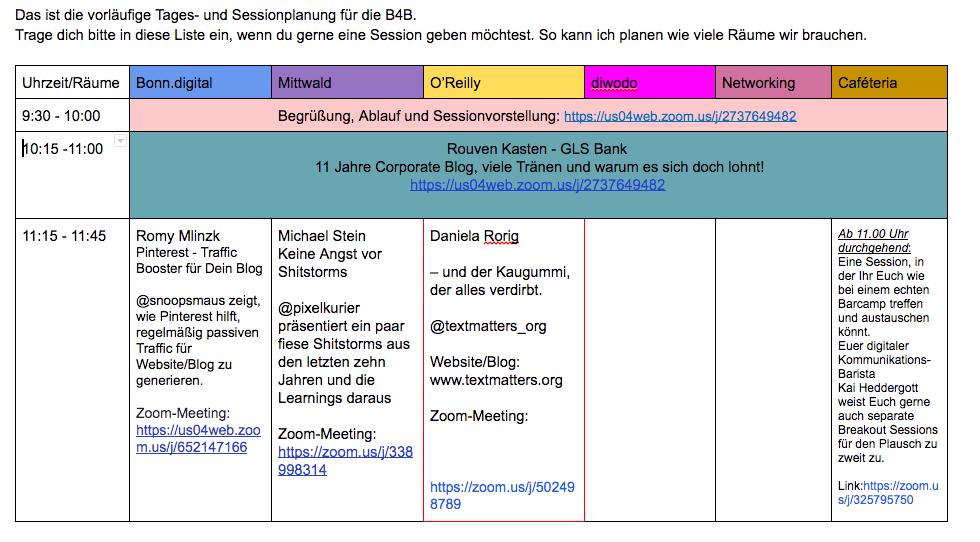 Ein Blick auf das Sessionboard der Blog4Business Digital in Google Docs erstellt. Räume sind benannt, die Namen der Sessiongeber, der Inhalt ihrer Sessions und der Link zu ihrem Zoommeeting