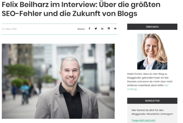 Auf dem Bild ist Felix Beilharz zu sehen. Darüber steht: Felix Beilharz im Interview über die größten SEO-Fehler und die Zukunft von Blogs